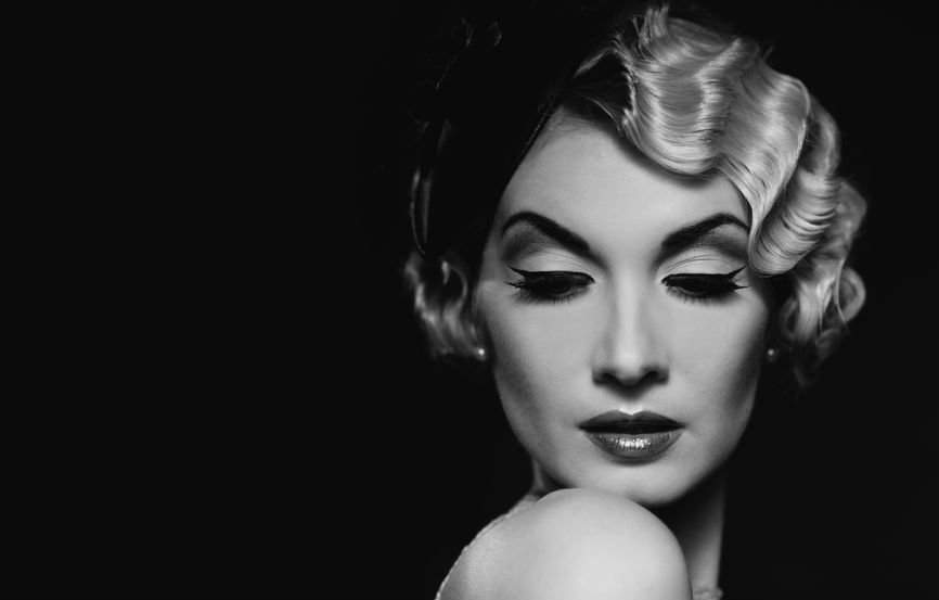Vintage classy lady in black and white