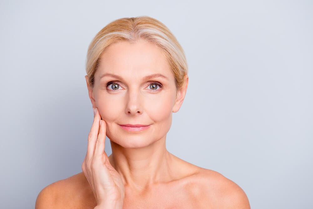 mature white lady healthy glowing skin